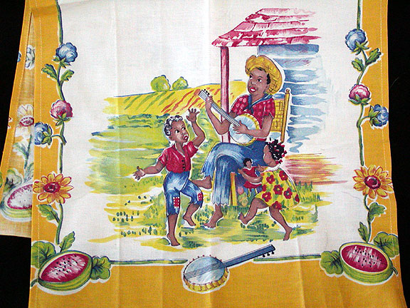 Black Americana Sharecropper Banjo Kids Watermelon Vintage Towel