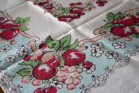 Fancy Fruit Clusters and Ribbon Vintage Linen Tablecloth 38x42