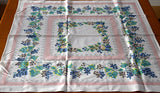 Bridge Size Fruits & Grapevins Vintage Tablecloth 34x36