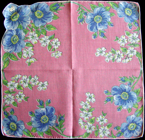 Blue Floral on Pink Vintage Handkerchief, Hand Rolled