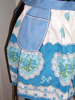 Blue Hearts Border Print Cotton Vintage Half Apron