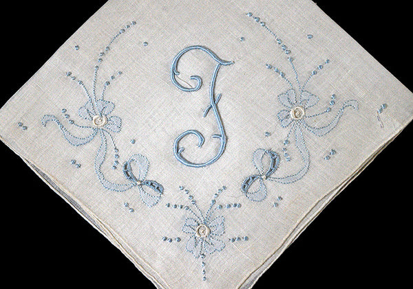 Monogram F Vintage Handkerchief, Blue Bows Madeira Embroidery