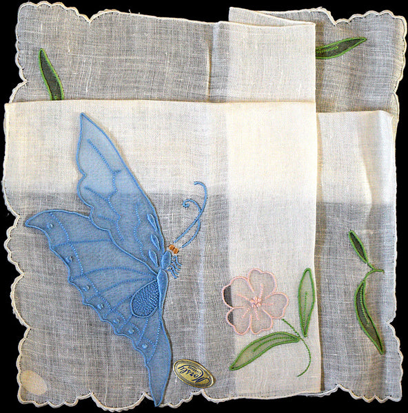 Detached Organdy Butterfly Applique Vintage Handkerchief Madeira