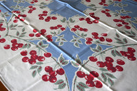 Cherries Heart Shaped Vines Blue Vintage Tablecloth 44x57