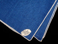 Burmel Hand Rolled Vintage Irish Linen Handkerchief, Blue