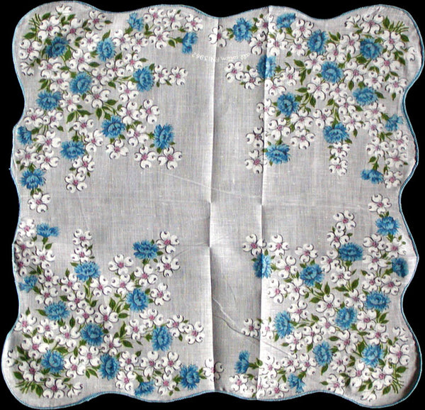 Dogwood and Blue Floral Vintage Floral Handkerchief