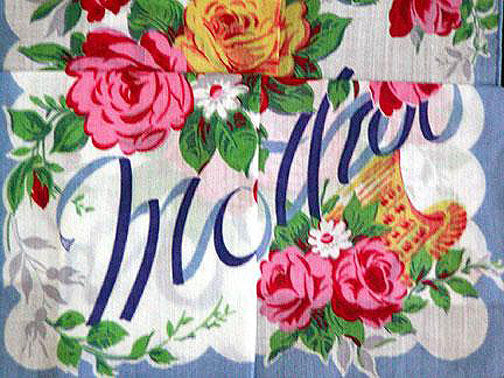 Mother in Blue w Pink Yellow Roses Vintage Handkerchief