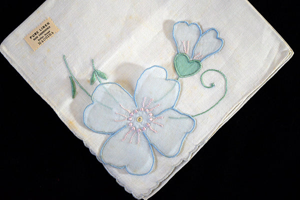 Detached Blue Organdy Flower Applique Vintage Madeira Linen Handkerchief