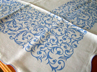 Blue Geometric Scrolls Scalloped Linen Vintage Tablecloth 56x74
