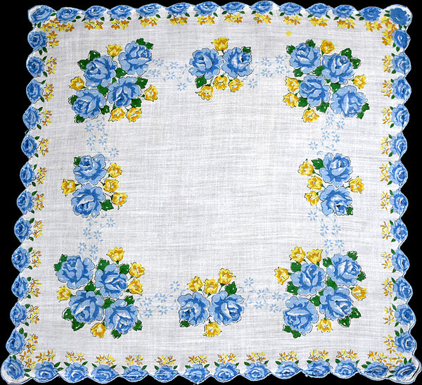 Blue Roses Scalloped Border Vintage Handkerchief