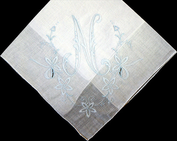 Monogram N Vintage Handkerchief Blue Madeira Shadow Embroidery