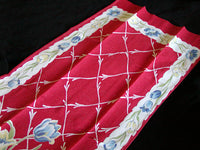 Blue Tulips Red Linen Vintage Kitchen Tea Towel or Runner 38x13