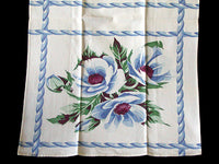 Big Blue Poppies Vintage Wilendur Tea Towel Kitchen Dishtowel