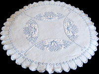 Arts & Crafts Bluework Embroidered Linen Doily 20 Inches