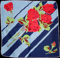 Red Roses w Blue Stripes Vintage Handkerchief