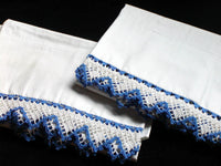 New Old Stock PR Vintage Cannon Percale Pillowcases Crochet Lace