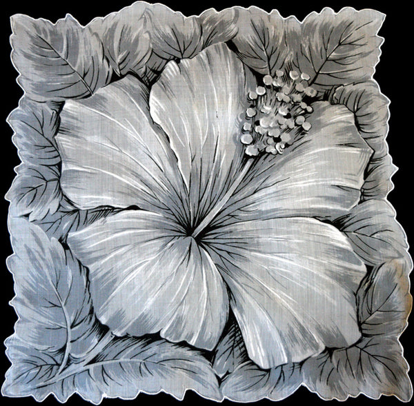 Big Gray Hibiscus Flower Vintage Handkerchief