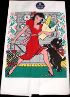 Girl with Groceries & Scotty Dog Vintage Tea Towel, Unused - MWT