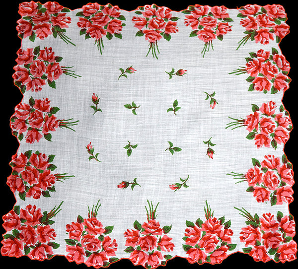Border of Red Rose Nosegays Vintage Handkerchief