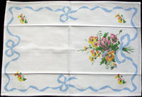 Bows & Pansies Vintage Tea Towel, Blue