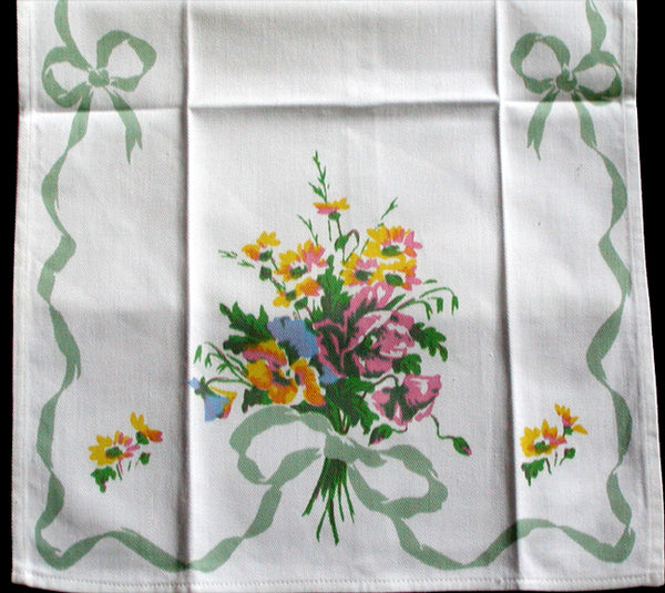 Bows & Pansies Vintage Tea Towel, Green