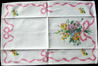 Bows & Pansies Vintage Tea Towel, Pink