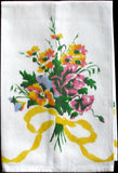 Bows & Pansies Vintage Tea Towel, Yellow