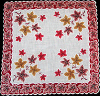 Red Orange & Yellow Leaves Vintage Handkerchief