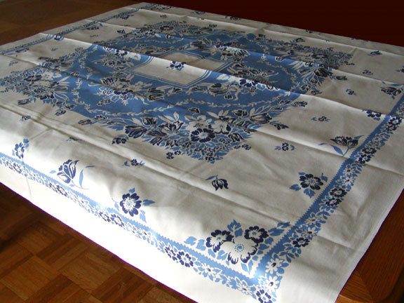 Broderie Blue and White Floral Tulips Vintage Tablecloth Unused