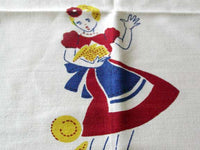 Broderie Waiter and Waitress Vintage Tablecloth 48x50