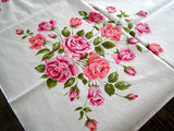 Broderie Pink & Coral Roses Vintage Tablecloth 52x70 Unused MWT