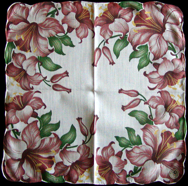 Cocoa Brown Lily Border Hand Rolled Vintage Handkerchief