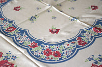 Blue Floral Red Rose Vintage Tablecloth 50x57