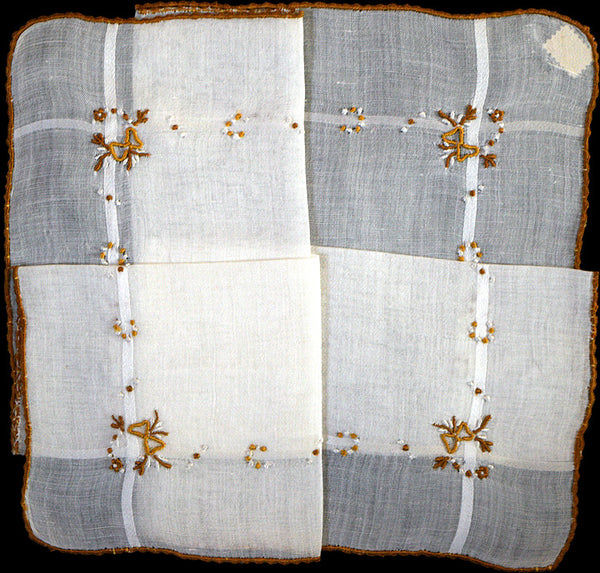 Bronze Bows Embroidered on White Vintage Handkerchief, Madeira