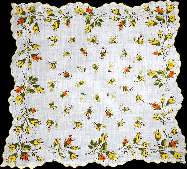 Orange and Yellow Rosebuds Vintage Handkerchief