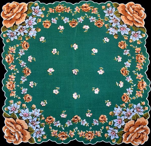 Burmel Roses and Flowers on Green Vintage Handkerchief