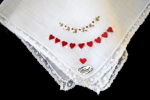 Burmel Embroidered Valentine Hearts w Lace Vintage Handkerchief