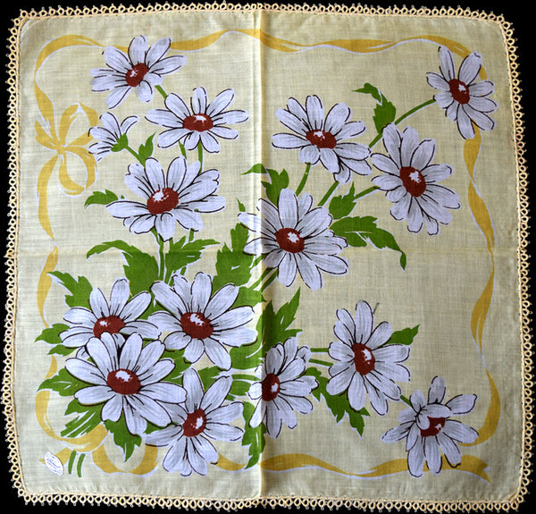 Burmel Daisies on Yellow Vintage Handkerchief w Tatting
