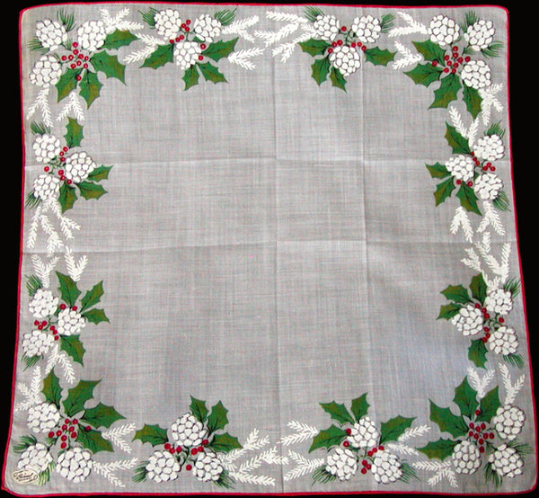 Burmel Original Pinecones Holly Vintage Christmas Handkerchief