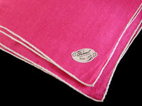 Burmel Hand Rolled Vintage Irish Linen Handkerchief, Hot Pink