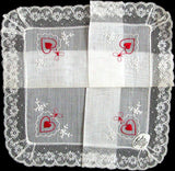Burmel Hearts and Lace Vintage Valentine Handkerchief MWT