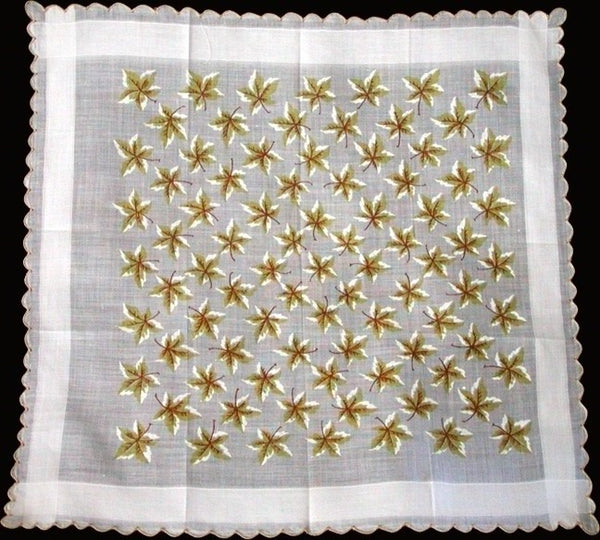 Yellow and White Maple Leaves Vintage Handkerchief