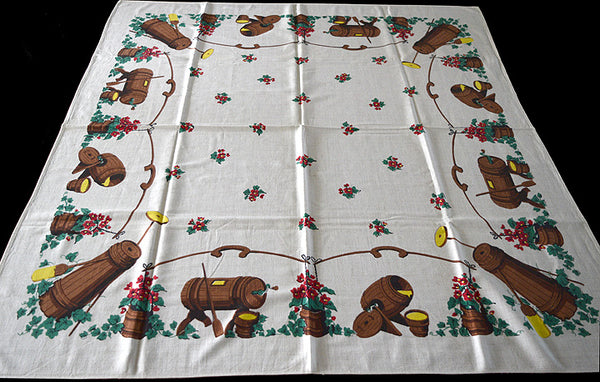 Butter Churns Vintage Tablecloth Simtex 45x50
