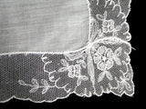 Embroidered Floral Bows Lace Border Vintage Wedding Handkerchief