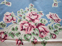 Callaway Pink and Wine Roses Vintage Tablecloth 50x66