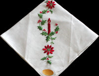 Christmas Candle & Poinsettias Embroidered Vintage Handkerchief