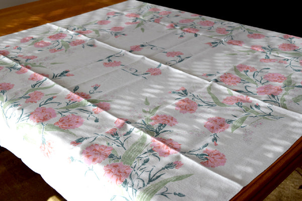 Pink Carnations on Linen Vintage Tablecloth 50x50