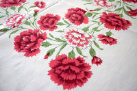 Red Carnations Vintage Tablecloth 52x48