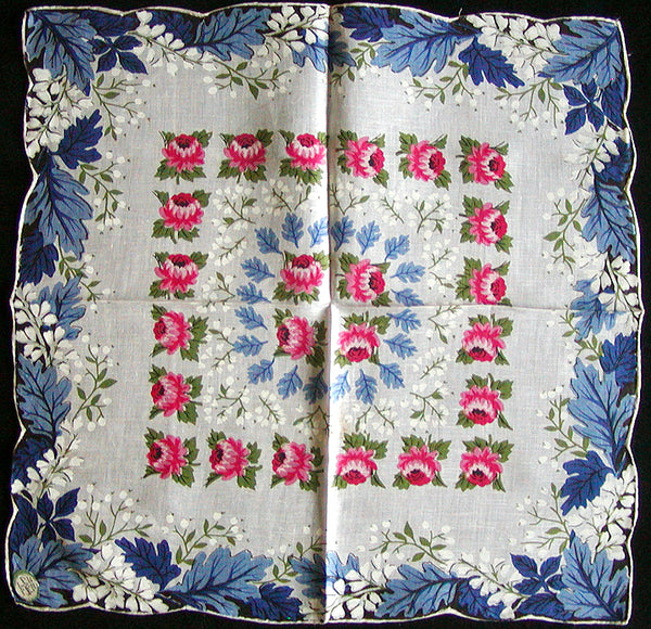 Oak Leaves and Mums Vintage Linen Handkerchief, Carol Stanley