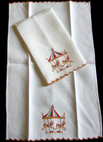Carousel Embroidered Vintage Madeira Guest Towels, Pair